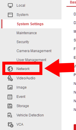 Hikvision Network Drop Down