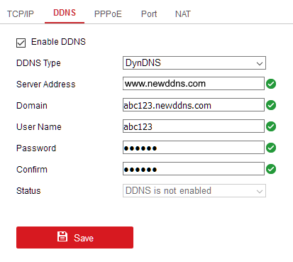 Hikvision Camera DDNS Settings Page